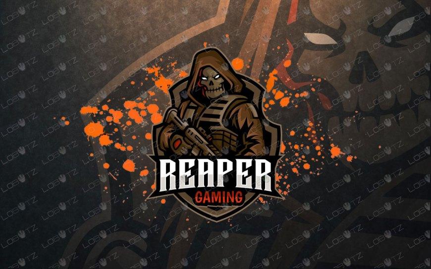 Grim Reaper With Gun Logo | Reaper Mascot Logo For Sale