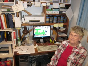 PIO Rose Gasperich taking a break in the hangar office