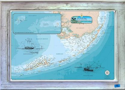 Florida Keys chart framed in a white wash lobster trap wood frame