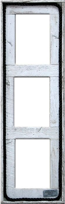 "5"" x 7"" Triple, Vertical, White Wash Finish/Rope"