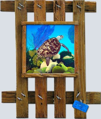 turtle on a reef placed on a ceramic tile framed in a lobster trap lid frame