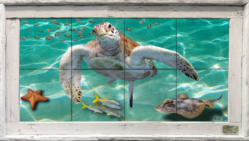 """12"""" x 24"""" Tile Mural in a Single Slat Frame $229"""