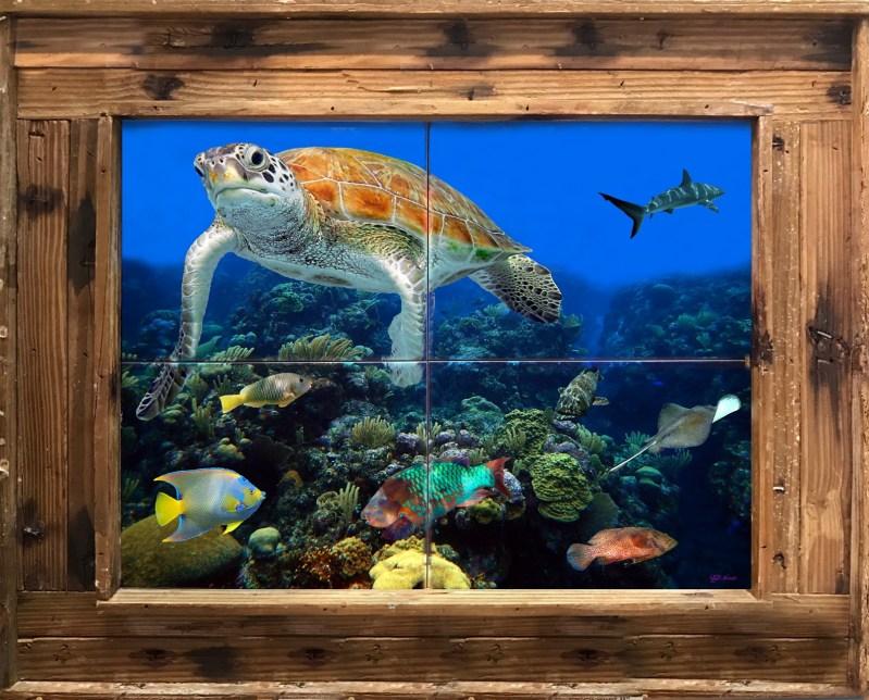 "16""x20"" Tile Mural in a Double Slat Lobster Trap Frame $275"