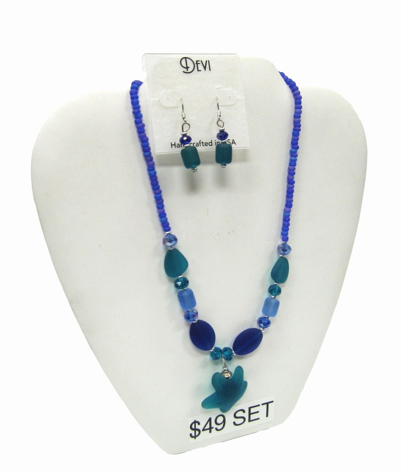 Seaglass Necklace and Earing Set