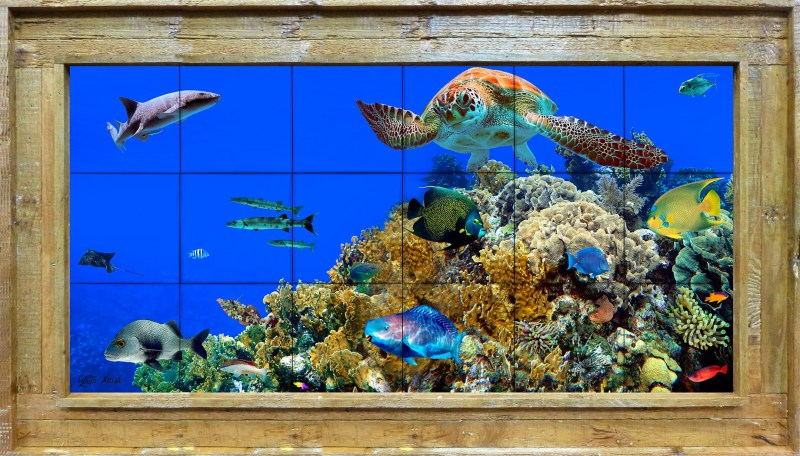 Coral Montage Tile Mural