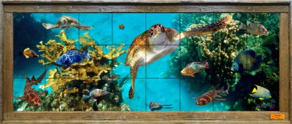 lobster wood framed ceramic tile mural with turtles, fish and corals