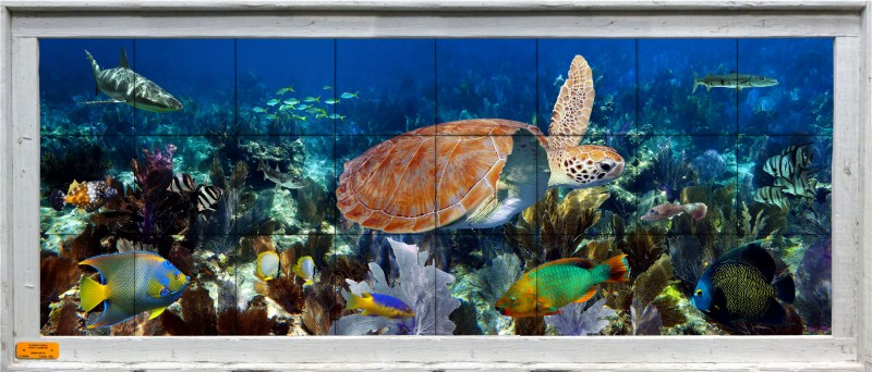 Framed tile mural with turtle, fish, reef, and sea fans