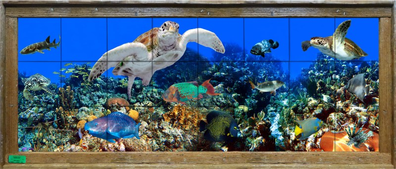 ceramic tile mural lobster trap framed with turtles, shark, grouper, and other tropical fish on a coral reef