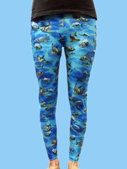 ladies leggings with tarpon, bonefish, and permit to create the grand slam on a blue ocean background
