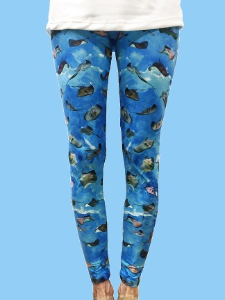 unique women's leggings with an ocean background with numerous southern stingrays photographed