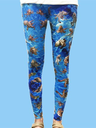 ladies leggings with blue ocean background and numerous octopus underwater photos