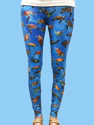ladies leggings with sea background with lots of turtle photos