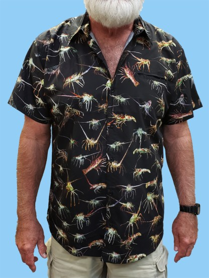 Men's dress shirt in black with many different lobster pictures over the entire shirt
