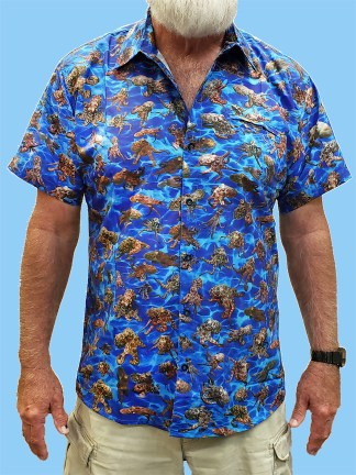 Men's dress shirt with many different octopus pictures with a darker blue background ocean design