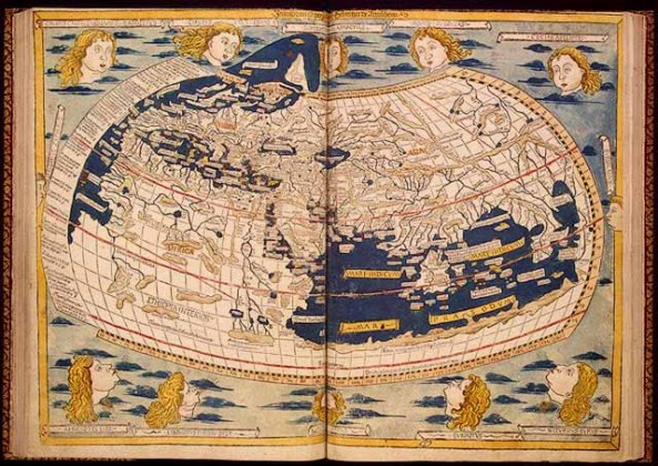 The Mediterranean World   1492  An Ongoing Voyage   Exhibitions     World Map in  Donnus Nicolaus Germanus  Cosmographia  Claudius Ptolemaeus   Ulm  1482  Thacher Collection  Rare Book and Special Collections Division