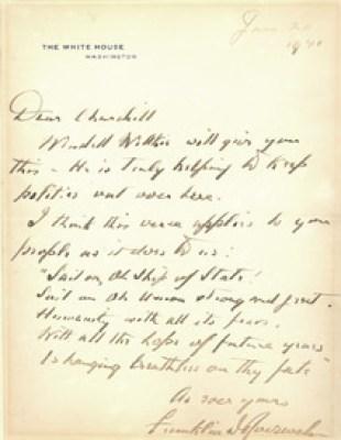 Image: President Franklin D. Roosevelt to Winston Churchill, January 20, 1941