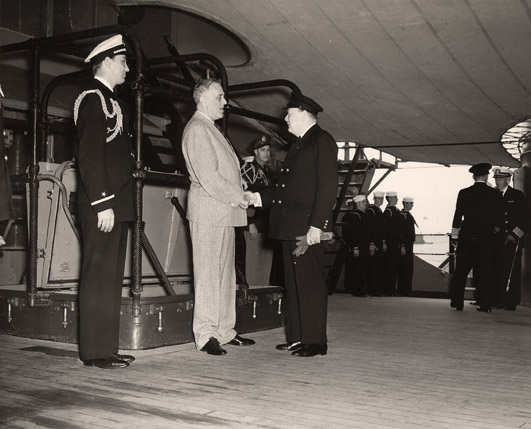 FDR and Churchill, August 9, 1941, aboard U.S.S. Augusta