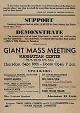 Giant Mass Meeting sponsored by the Trade Union Council and New York City Committee of the Jewish People, September 18, 1941