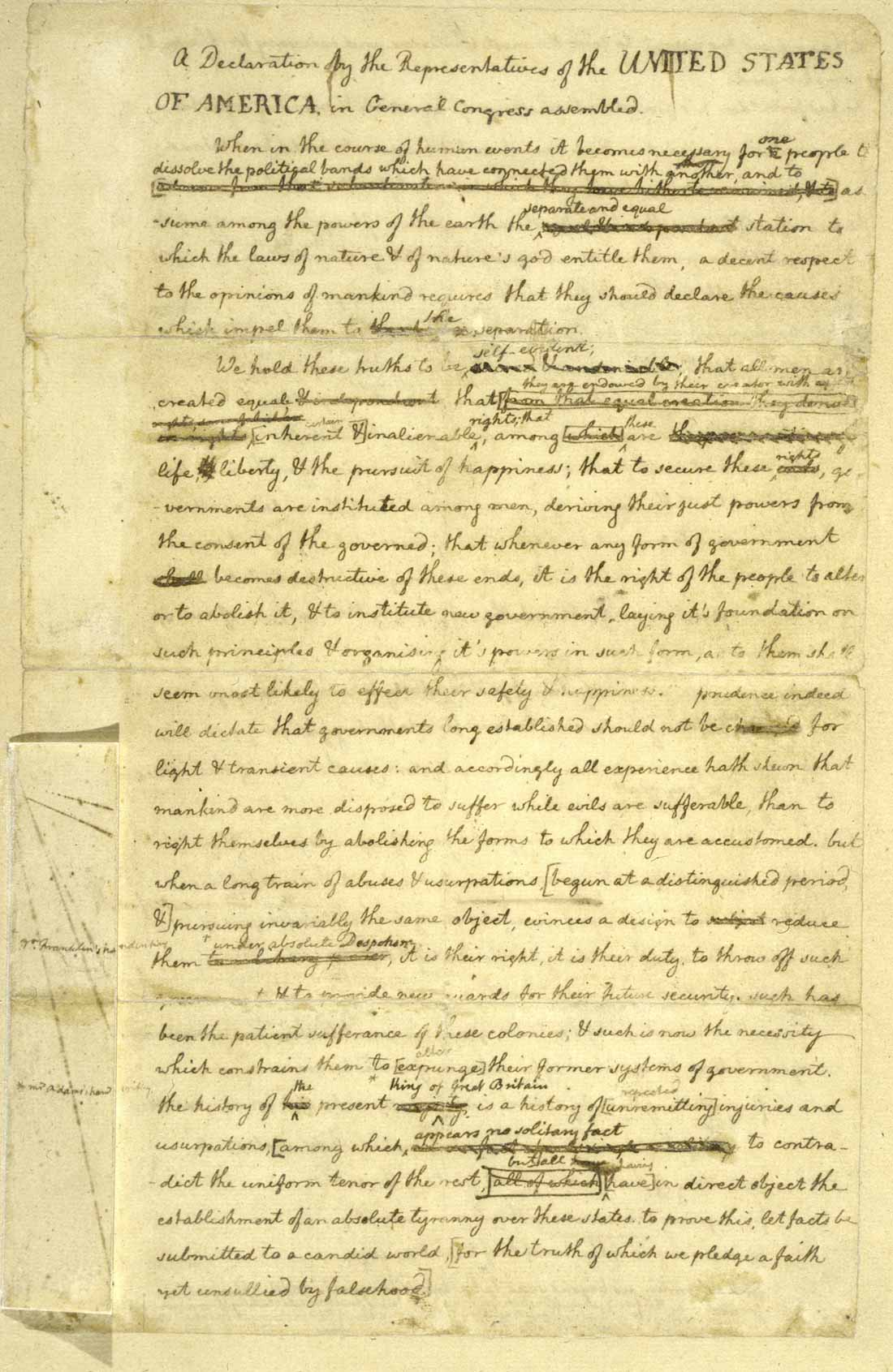 Original rought draft of the Declaration of Independence written out in longhand by Thomas Jefferson, featuring emendations by Benjamin Franklin and John Adams - Library of Congress Manuscripts Division