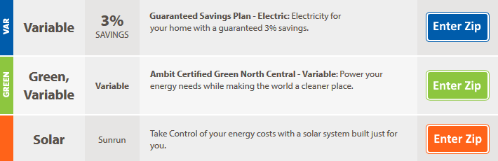 Ambit Energy guaranteed electricity savings plan rate