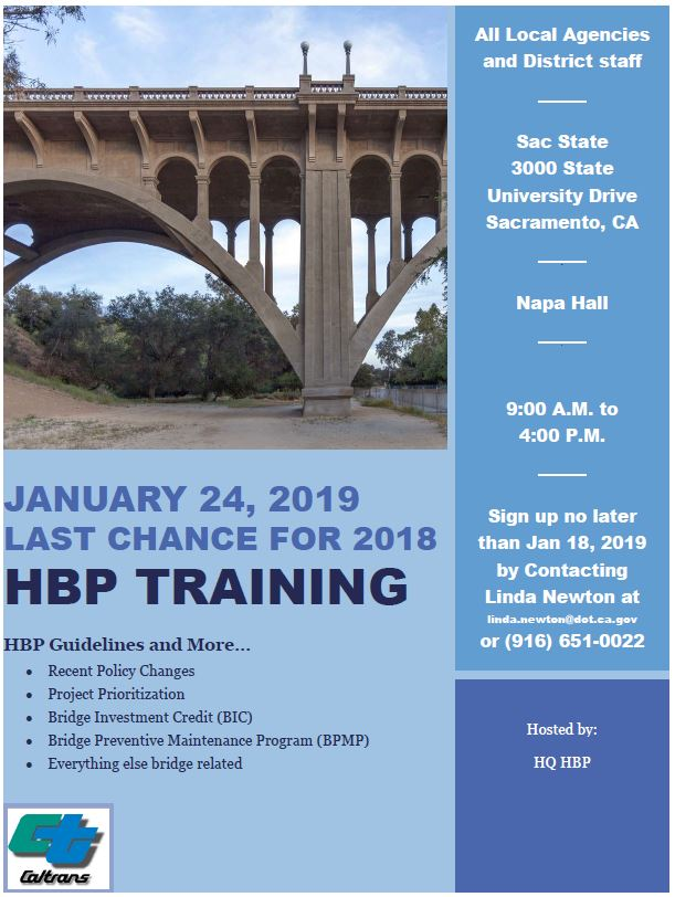 Last Chance for 2018 Highway Bridge Training – Local Assistance Blog