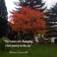 The leaves are changing; I feel poetry in the air. ~ Laura Jaworski
