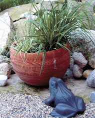 A highly fired terra cotta pot