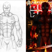 Deadpool: Sketch Vs Finished Image Comparison