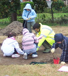 Year 7 pupils from Henbury Secondary School at the mock dig in 2007