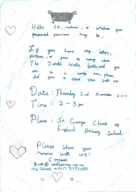Invitation to the St George's Primary School Sharing Memories day