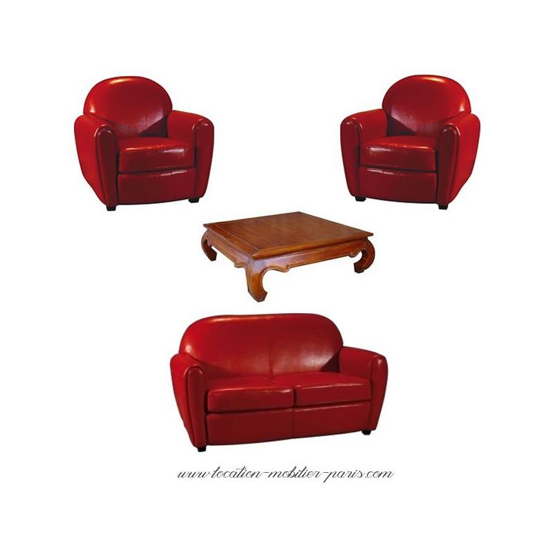 location 2 fauteuils 1 canape rouge et 1 table basse