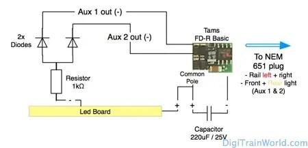 Tams Elektronik FD-R Basic DCC, interior lighting led board (in Dapol Class 156 DMU) on NEM651 plug