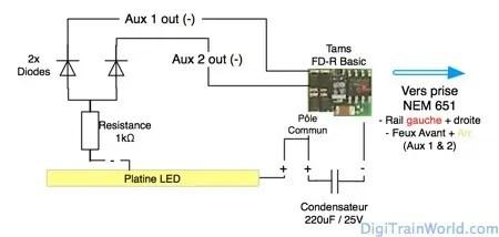Décodeur FD-R basic (DCC) de Tams pour éclairage intérieur et feux sur prise NEM651