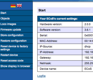ESU ECoS II web interface