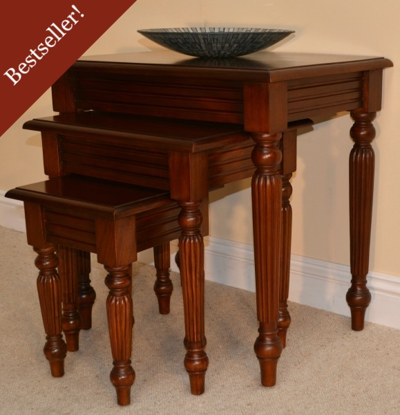 Mahogany Nest Of Tables With Pillar Detail