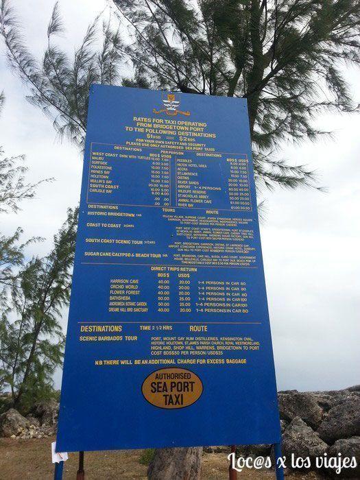 Tarifas de los taxis de Barbados