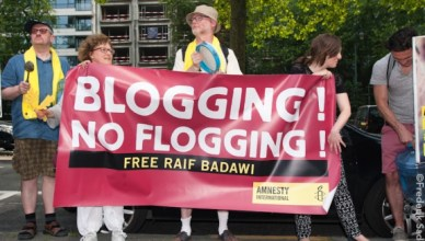 Actie Amnesty International in Brussel voor Raif Badawi