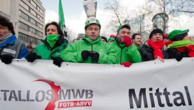 Vakbondsbetoging in februari 2013 tegen mogelijke sluiting van ArcelorMittal