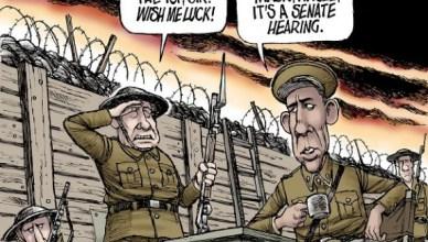 Loopgravenoorlog. Hagel: Ik ga over de top, sir. Wens me geluk! Obama: Doe een gasmasker aan, Hagel, het is een hoorzitting in de senaat!