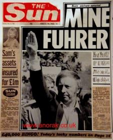 Dit voorstel van cover met getrukeerde Hitlergroet ging zelfs voor de anti-syndicale redactie van het roddelblad The Sun te ver. De krant verscheen met een wit blad.
