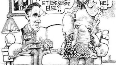 Romney: 'Schatje, je lijkt zo afstandelijk. Is er een ander? Zij: 'Dat zou toch moeten'. De olifant is het symbool van de Republikeinse Partij of Grand Ole Party GOP