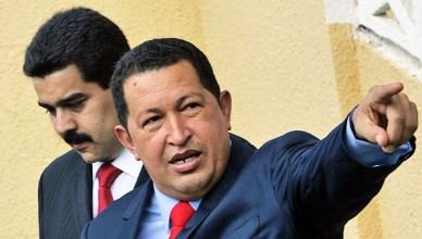 President Hugo Chávez in 2008 met zijn toenmalige minister van buitenlandse zaken Nicolás Maduro