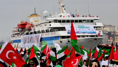 De Mavi Marmara bij zijn terugkeer uit Gaza op 7 augustus 2010. Op 31 mei 2010 werden aan boord negen Turkse deelnemers geëxecuteerd door het Israëlisch leger