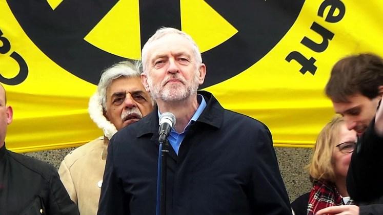 Jeremy Corbyn op Trafalgar Square