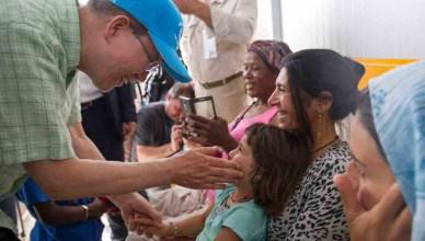Op 18 juni 2016 bezocht VN-Secretaris-Generaal Ban Ki-Moon het vluchtelingenkamp op het eiland Lesbos