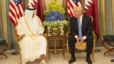 President Trump ontmoet Emir Tamim bin Hamad Al Thani, staatshoofd van Qatar, in de Saoedische hoofdstad Riyadh