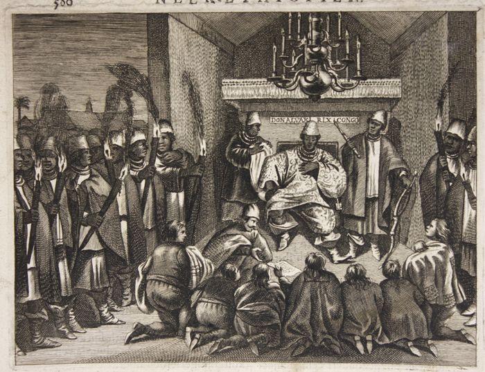 Nederlandse handelaars worden ontvangen aan het Kongolese Hof