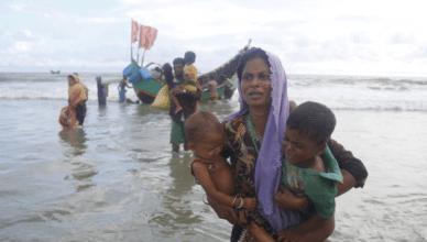 Rohingya-vluchtelingen bereiken de kust van buurland Bangladesh