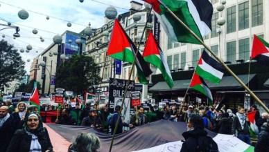 Solidariteitsactie voor Palestina in de Londense Oxford Street
