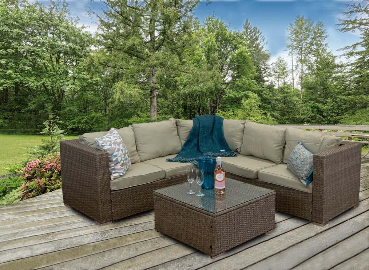 casagiardino rattan corner sofa outdoor garden furniture coffee table set
